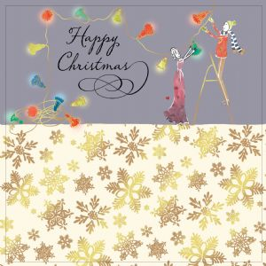 Christmas Lights with Gold Foiling, Contemporary Design and Red Envelope KIS11